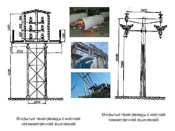Открытые токопроводы с жесткой несимметричной ошиновкой Открытые токопроводы с жесткой симметричной ошиновкой