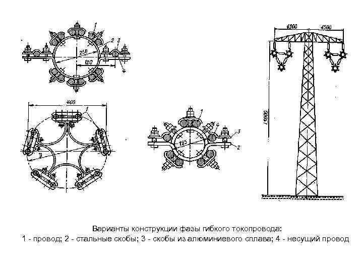 Варианты конструкции фазы гибкого токопровода: 1 - провод; 2 - стальные скобы; 3 -