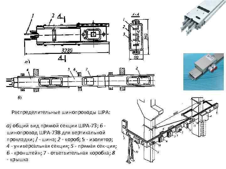 Распределительные шинопроводы ШРА: а) общий вид прямой секции ШРА 73; 6 шинопровод ШРА 73