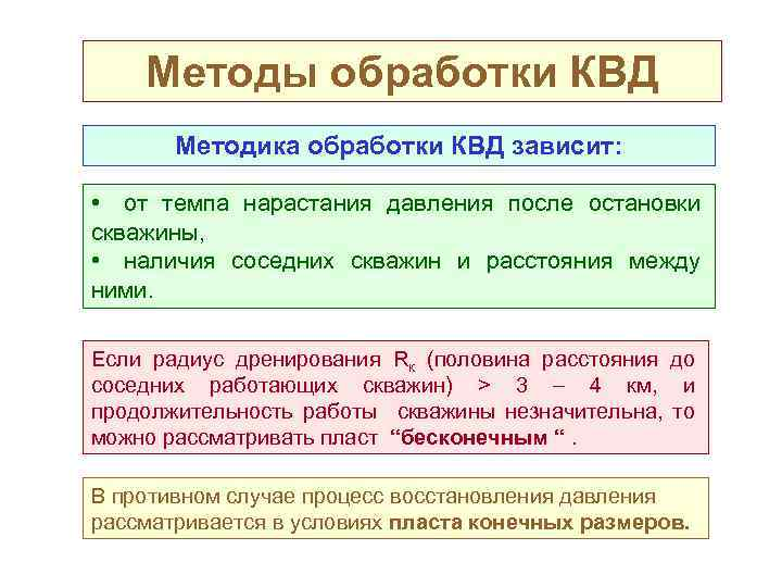 Методы обработки КВД Методика обработки КВД зависит: • от темпа нарастания давления после остановки