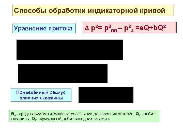 Способы обработки индикаторной кривой Уравнение притока р2= р2 пл – р2 з =а. Q+b.