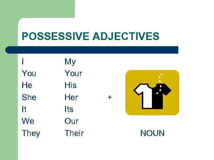 POSSESSIVE ADJECTIVES I You He She It We They My Your His Her Its