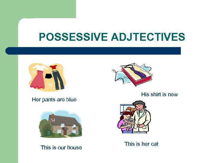 POSSESSIVE ADJTECTIVES Her pants are blue This is our house His shirt is new