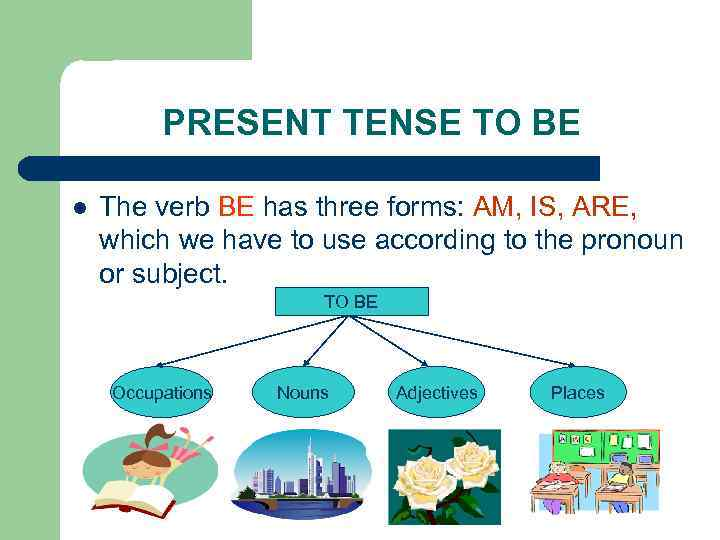 PRESENT TENSE TO BE l The verb BE has three forms: AM, IS, ARE,