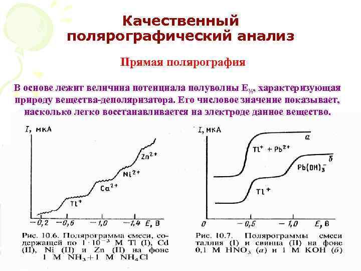 Качественный полярографический анализ Прямая полярография В основе лежит величина потенциала полуволны Е½, характеризующая природу