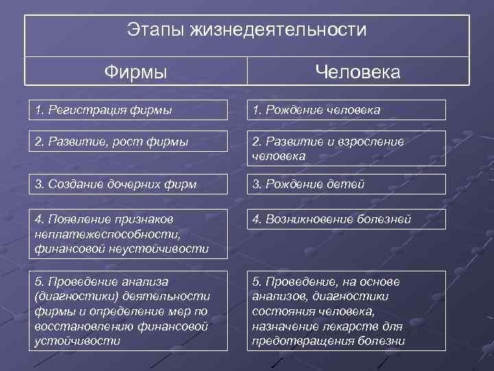 Этапы жизнедеятельности Фирмы Человека 1. Регистрация фирмы 1. Рождение человека 2. Развитие, рост фирмы