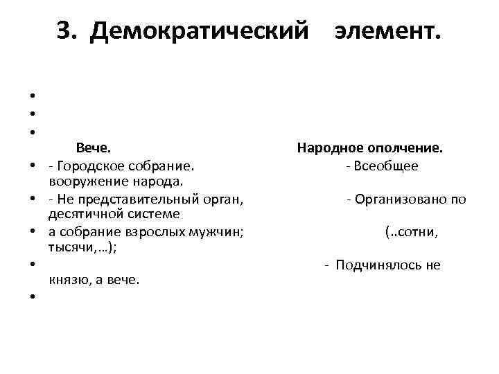 3. Демократический элемент. • • • Вече. Народное ополчение. • - Городское собрание. -