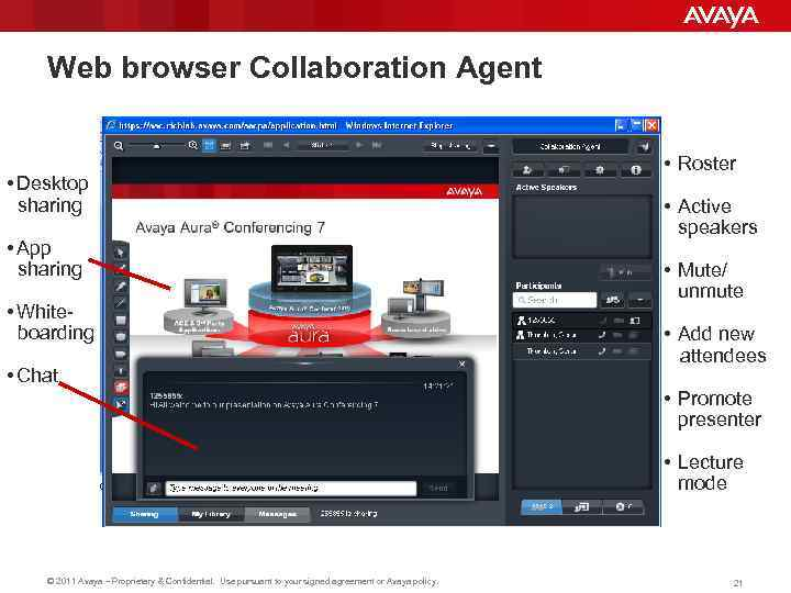 Web browser Collaboration Agent • Desktop sharing • App sharing • Whiteboarding • Chat