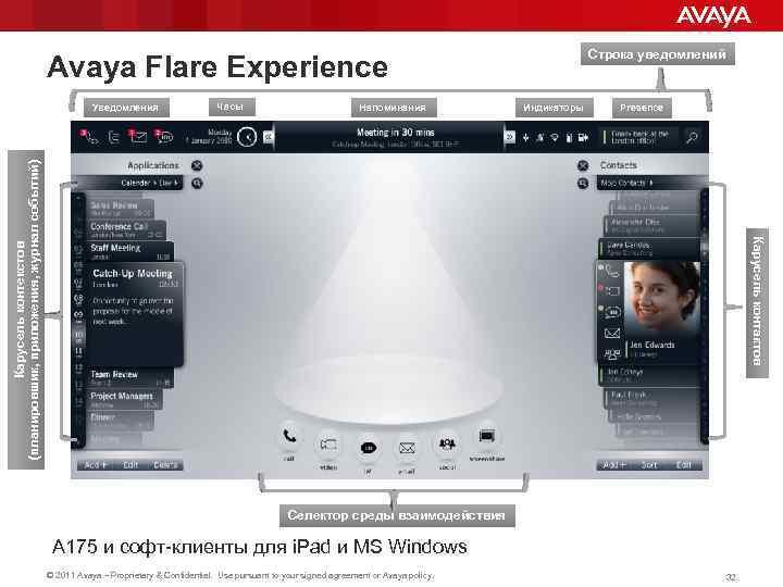 Строка уведомлений Avaya Flare Experience Часы Напоминания Индикаторы Presence Карусель контактов Карусель контекстов (планировшик,