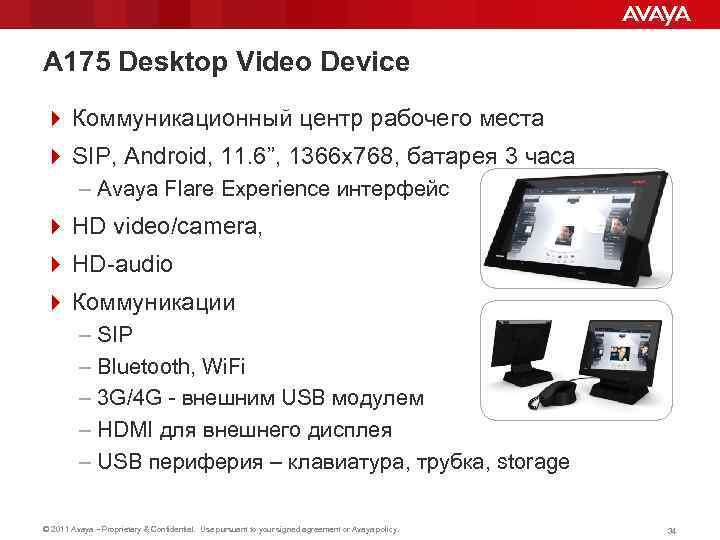 A 175 Desktop Video Device 4 Коммуникационный центр рабочего места 4 SIP, Android, 11.