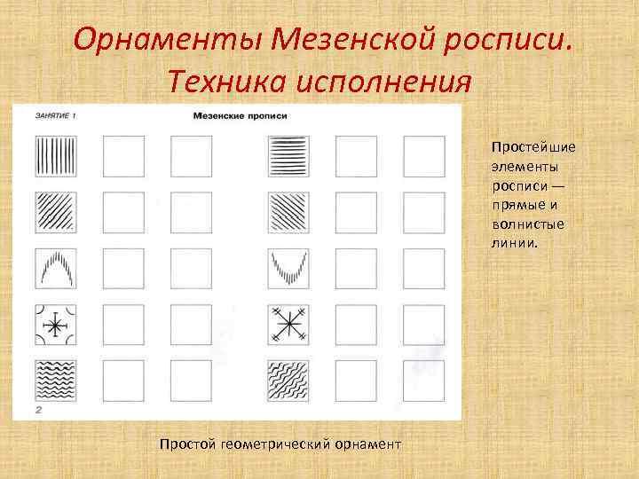 Орнаменты Мезенской росписи. Техника исполнения Простейшие элементы росписи — прямые и волнистые линии.