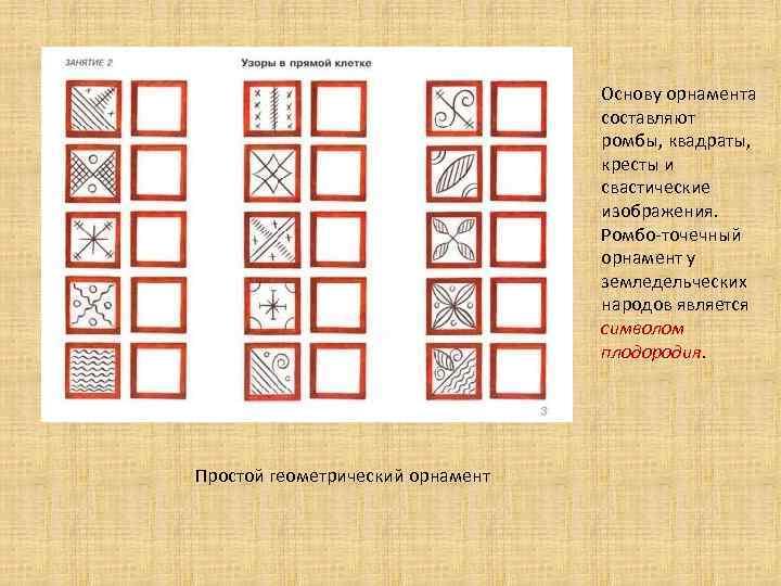 Основу орнамента составляют ромбы, квадраты, кресты и свастические изображения. Ромбо-точечный орнамент у земледельческих народов