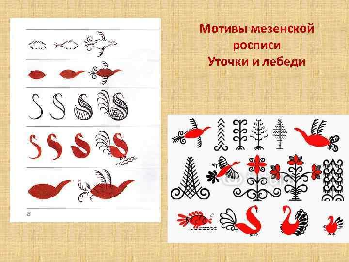 Мотивы мезенской росписи Уточки и лебеди