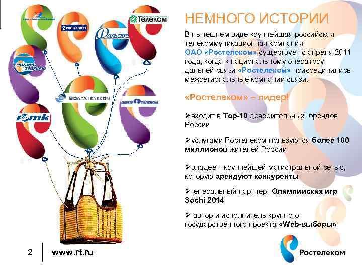 НЕМНОГО ИСТОРИИ В нынешнем виде крупнейшая российская телекоммуникационная компания ОАО «Ростелеком» существует с апреля