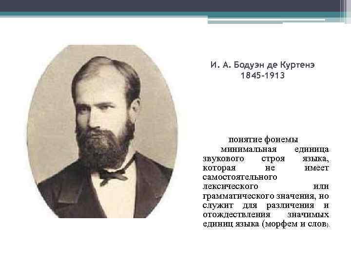 И. А. Бодуэн де Куртенэ 1845 -1913 понятие фонемы минимальная единица звукового строя языка,