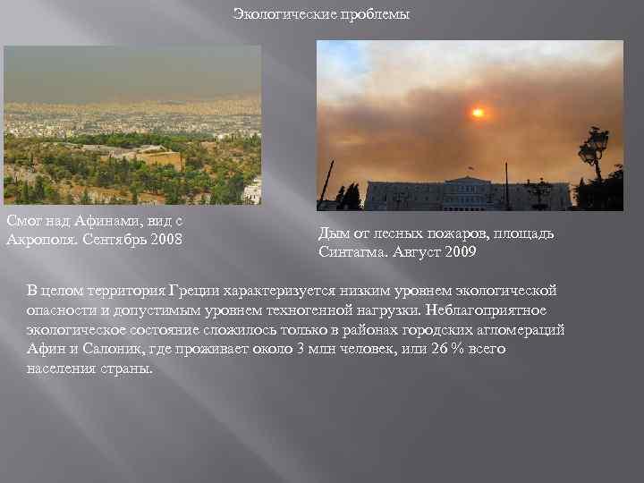 Экологические проблемы Смог над Афинами, вид с Акрополя. Сентябрь 2008 Дым от лесных пожаров,
