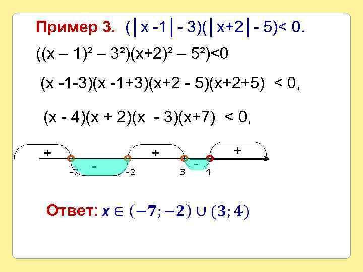 Пример 3. (│х -1│- 3)(│х+2│- 5)< 0. ((х – 1)² – 3²)(х+2)² – 5²)<0
