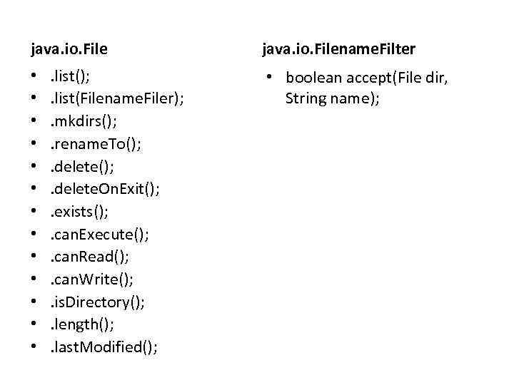 java. io. File • • • • . list(); . list(Filename. Filer); . mkdirs();