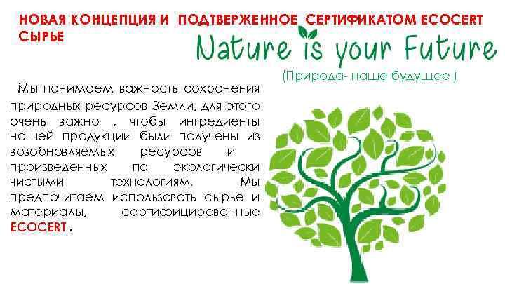 НОВАЯ КОНЦЕПЦИЯ И ПОДТВЕРЖЕННОЕ СЕРТИФИКАТОМ ECOCERT СЫРЬЕ Мы понимаем важность сохранения природных ресурсов