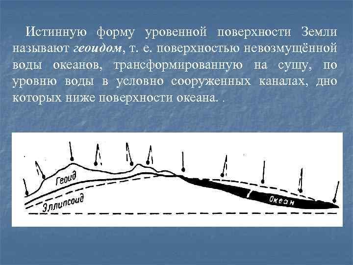 Истинную форму уровенной поверхности Земли называют геоидом, т. е. поверхностью невозмущённой воды океанов, трансформированную