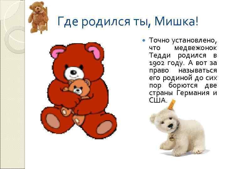 Где родился ты, Мишка! Точно установлено, что медвежонок Тедди родился в 1902 году. А