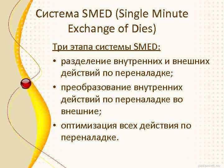 Система SMED (Single Minute Exchange of Dies) Три этапа системы SMED: • разделение внутренних