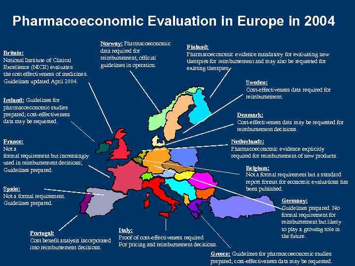 Pharmacoeconomic Evaluation in Europe in 2004 Britain: National Institute of Clinical Excellence (NICE) evaluates