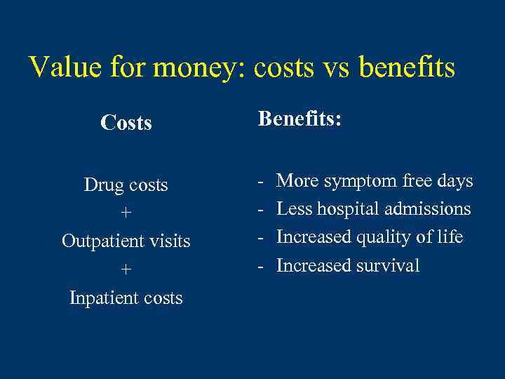 Value for money: costs vs benefits Costs Drug costs + Outpatient visits + Inpatient