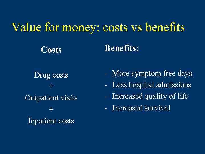 Value for money: costs vs benefits Costs Drug costs + Outpatient visits + Inpatient