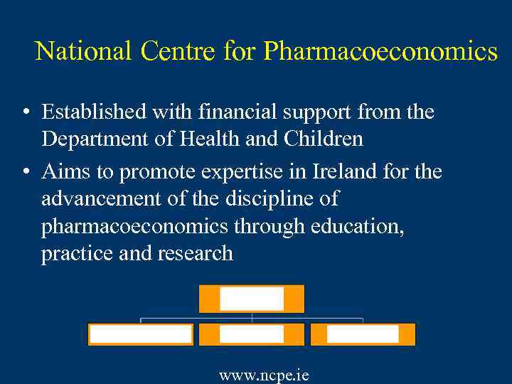National Centre for Pharmacoeconomics • Established with financial support from the Department of Health