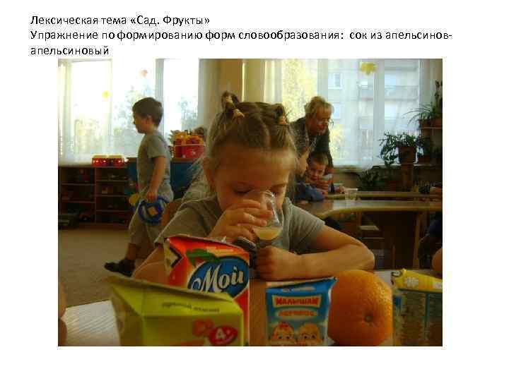 Лексическая тема «Сад. Фрукты» Упражнение по формированию форм словообразования: сок из апельсиновый