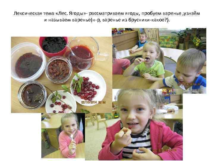 Лексическая тема «Лес. Ягоды» - рассматриваем ягоды, пробуем варенье , узнаём и называем варенье(н-р,
