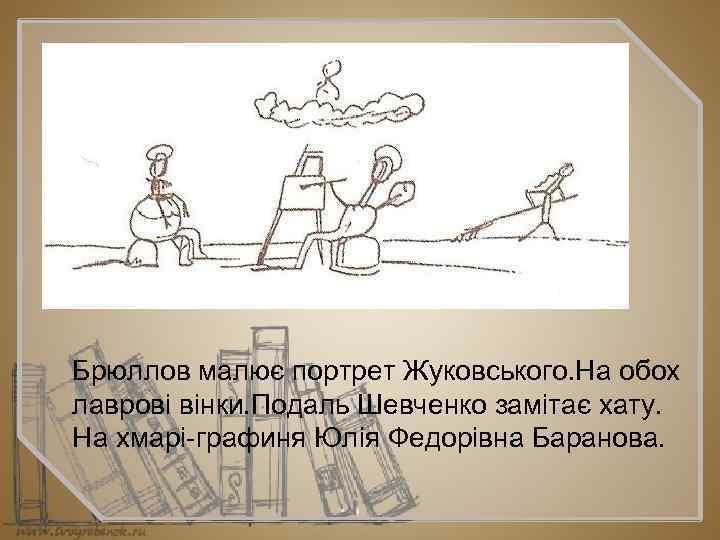 Брюллов малює портрет Жуковського. На обох лаврові вінки. Подаль Шевченко замітає хату. На хмарі
