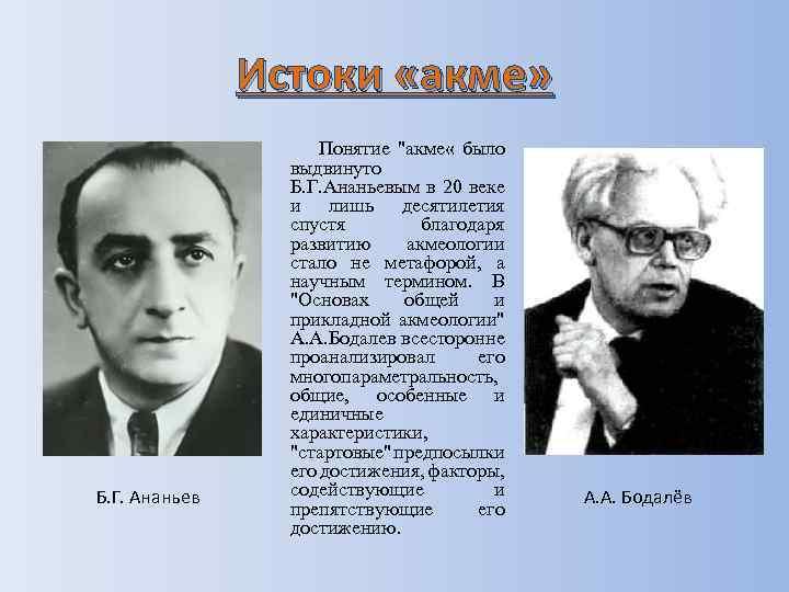 Истоки «акме» Б. Г. Ананьев Понятие