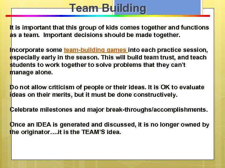 T e a m B u i l d i n g Team Building