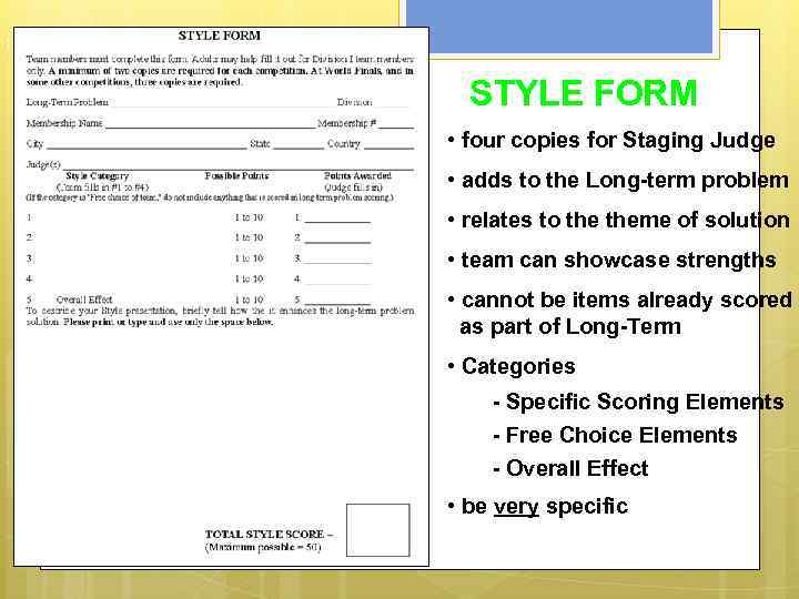 S t y l e F o r m STYLE FORM • four copies