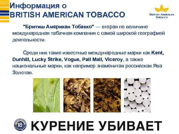 Информация о BRITISH AMERICAN TOBACCO ''Бритиш Американ Тобакко'' — вторая по величине международная табачная