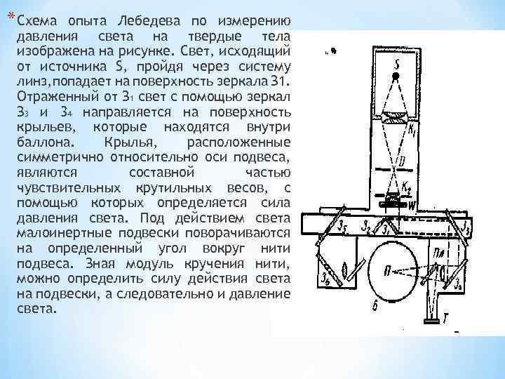 * Схема опыта Лебедева по измерению давления света на твердые тела изображена на рисунке.