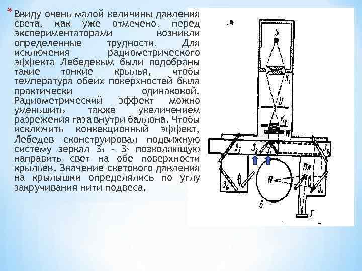 * Ввиду очень малой величины давления света, как уже отмечено, перед экспериментаторами возникли определенные
