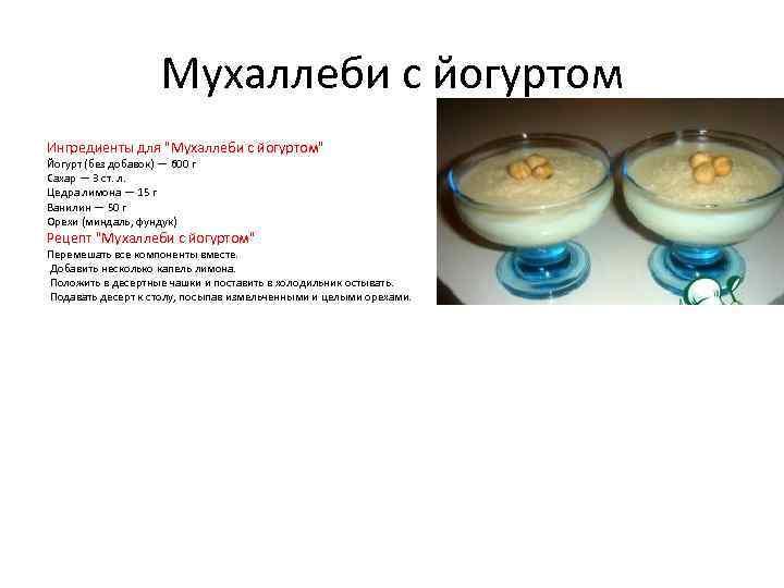 Мухаллеби с йогуртом Ингредиенты для