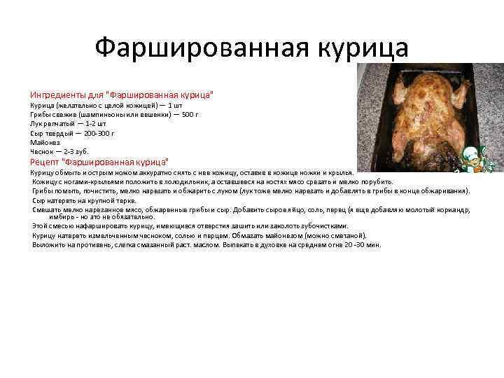 Фаршированная курица Ингредиенты для