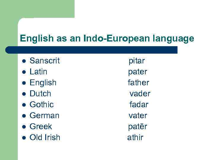 English as an Indo-European language l l l l Sanscrit pitar Latin pater English