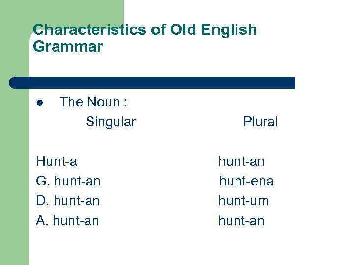 Characteristics of Old English Grammar The Noun : Singular Plural l Hunt-a hunt-an G.