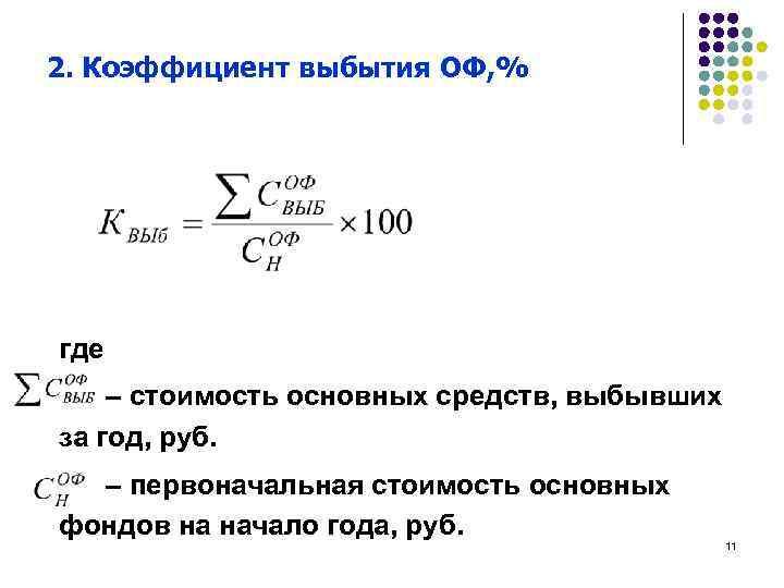 2. Коэффициент выбытия ОФ, % где – стоимость основных средств, выбывших за год, руб.