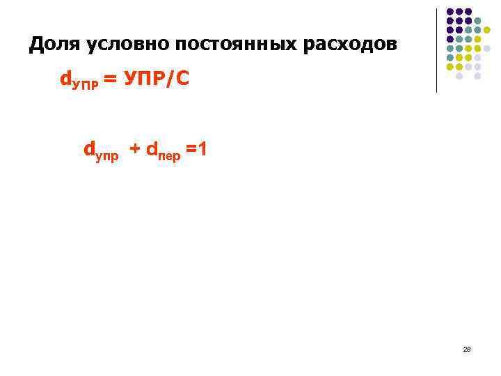 Доля условно постоянных расходов d. УПР = УПР/С dупр + dпер =1 28