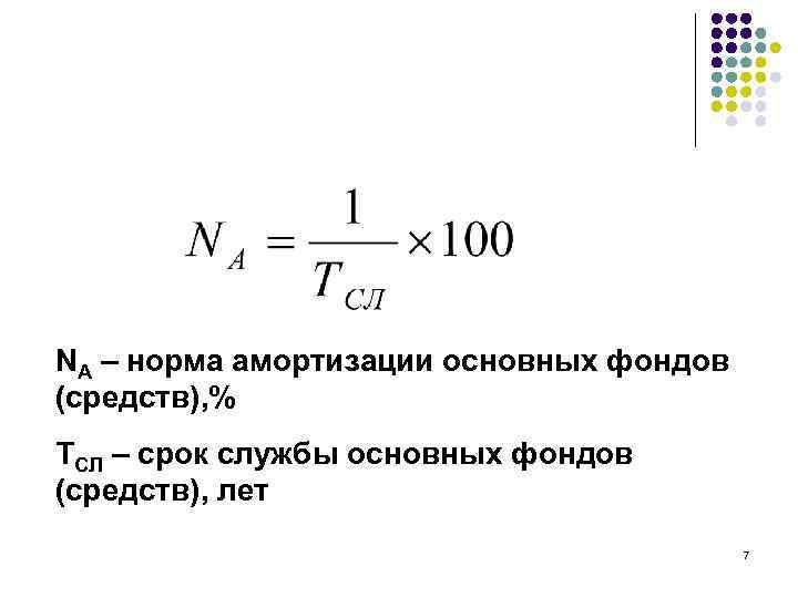 NА – норма амортизации основных фондов (средств), % ТСЛ – срок службы основных фондов