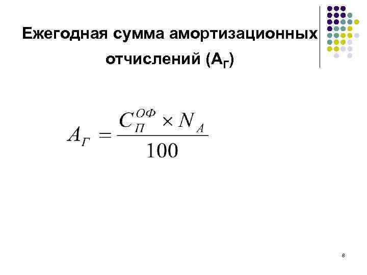 Ежегодная сумма амортизационных отчислений (АГ) 8