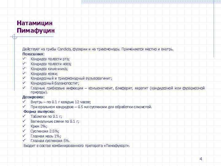Натамицин Пимафуцин Действует на грибы Candida, фузарии и на трихомонады. Применяется местно и внутрь.