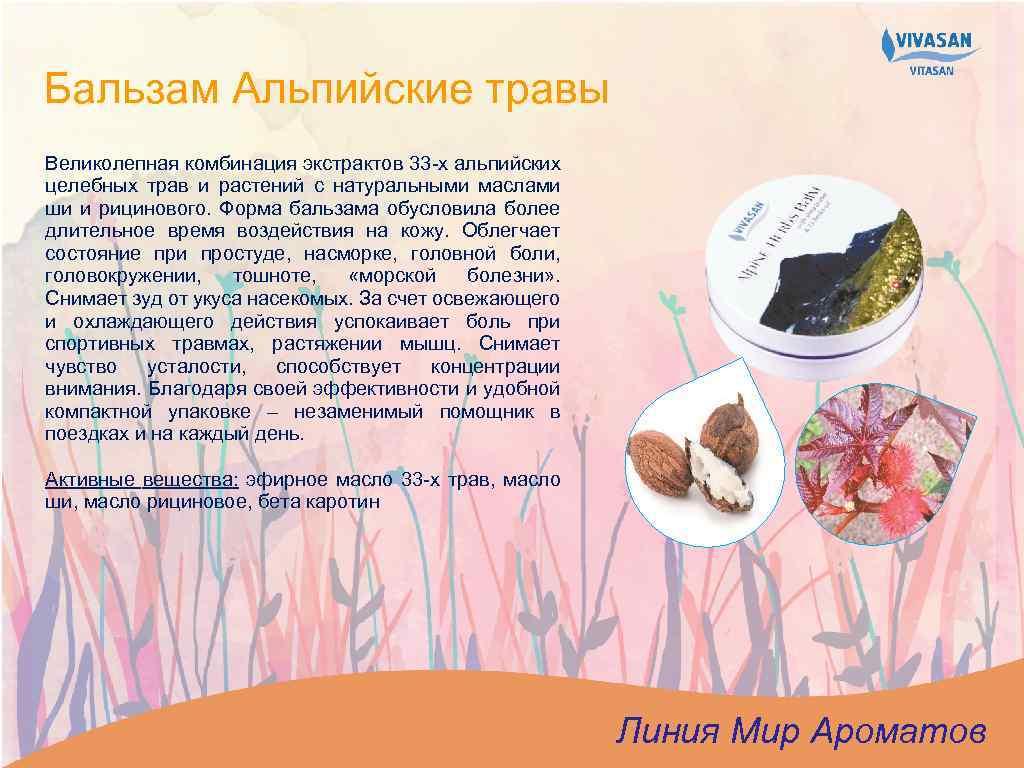 Бальзам Альпийские травы Великолепная комбинация экстрактов 33 -х альпийских целебных трав и растений с