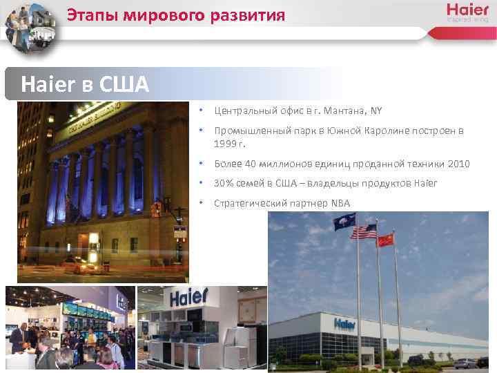 Этапы мирового развития Haier в США • Центральный офис в г. Мантана, NY •